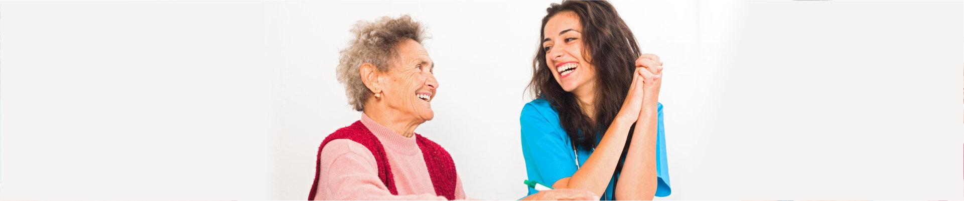 senior woman with kind caregiver